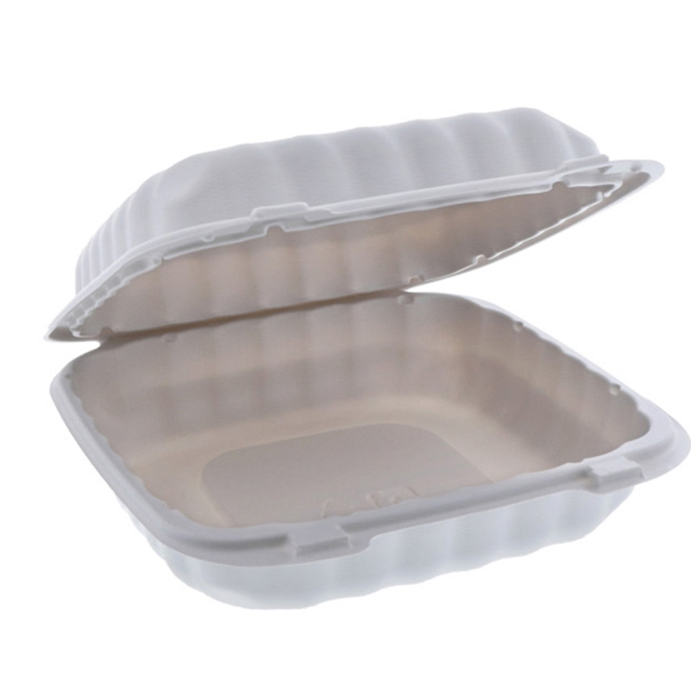 "Pactiv - White 8""x8""x3"" Square Microwavable       Mineral Filled Polypropylene Hinged Lid Take"