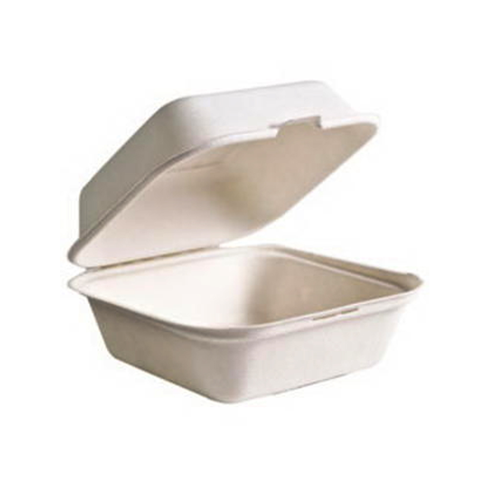 "Green Wave Intl White 6""x6""x3"" Bagasse Microwavable Biodegradable Take Out Container TW-BOO-004"