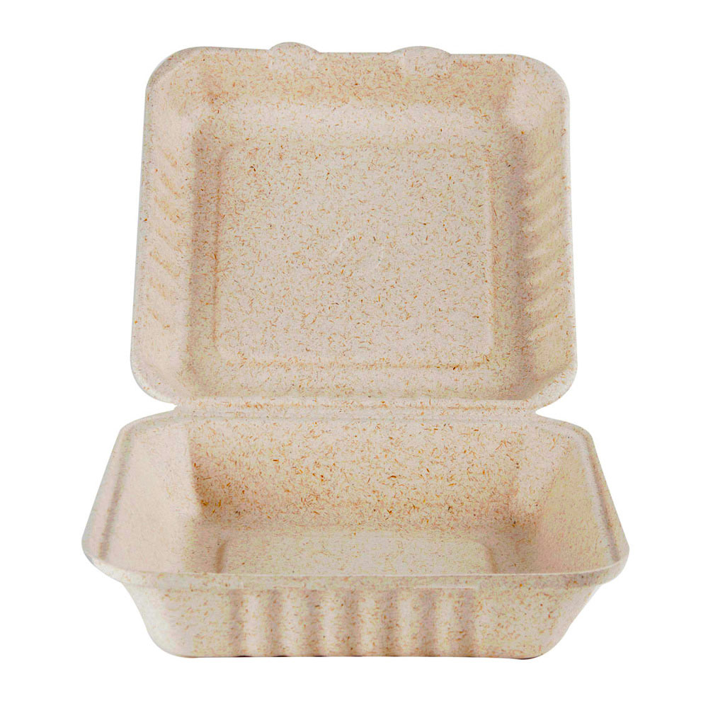 "Green Wave Intl Beige 9""x9""x3"" Bagasse Ovation Box OV-B00-099"