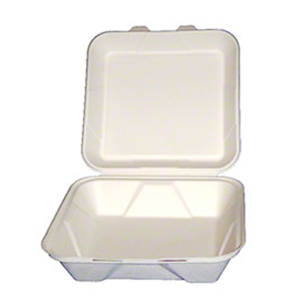 "Green Wave Intl White 9""x9""x3"" Bagasse Evolution  Hinged Container TW-BOO-011"