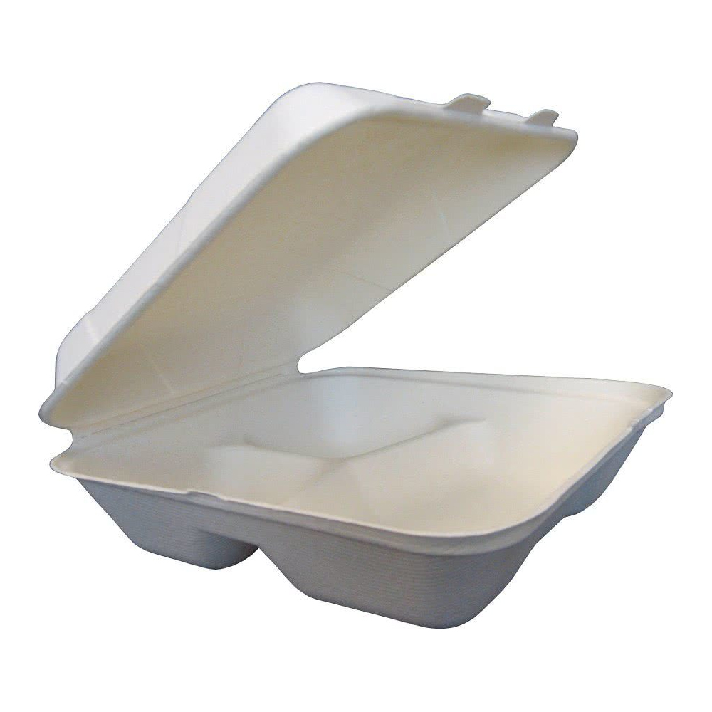 "Green Wave Intl White 9""x9""x3"" 3 Compartment      Bagasse Evolution Hinged Container TW-BOO-013"