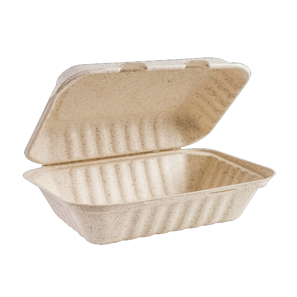 "Green Wave Intl Beige 9""x6""x3"" Bagasse Ovation Box OV-B096"