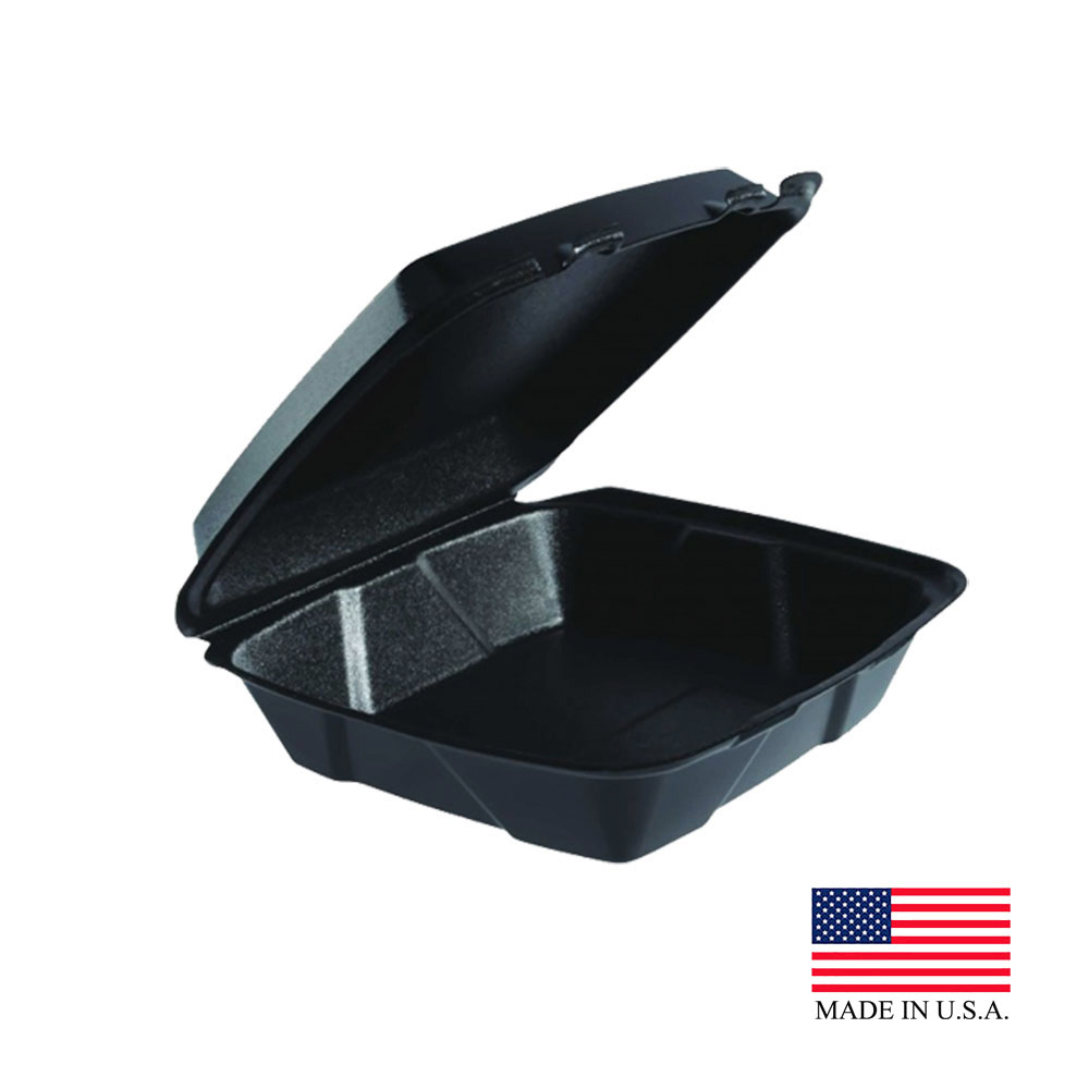 Dart Black Large 1 Compartment Foam Hinged Container With Removable Lid 90HTB1R