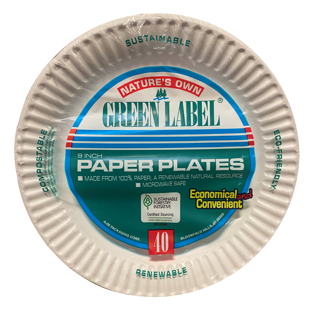 "AJM Packaging - Nature's Own White 9"" 40 Count    Green Label Uncoated Paper Plate PP9GRJWH"