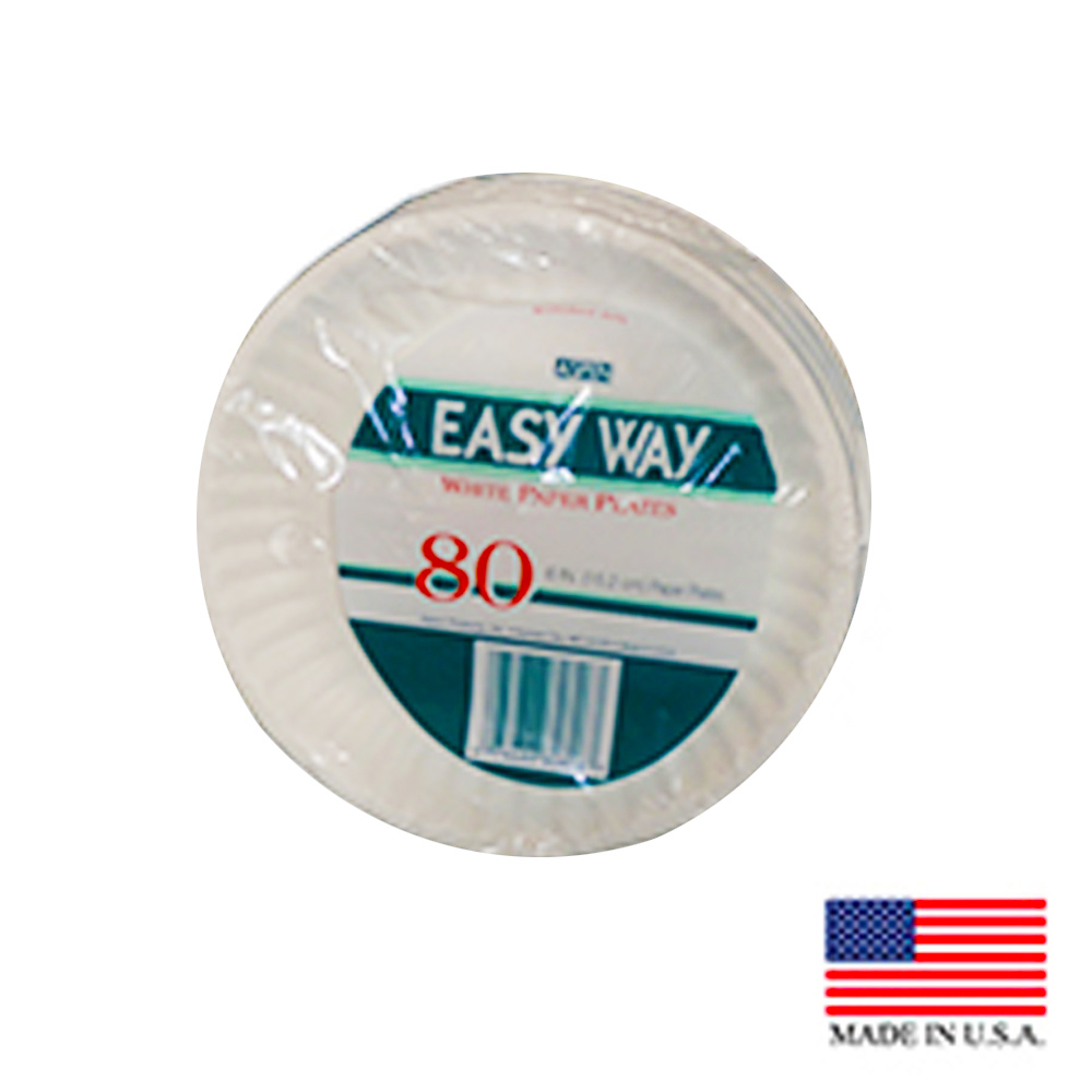 "Aspen Products - Easy Way White 6"" Uncoated Paper Plate 80806"