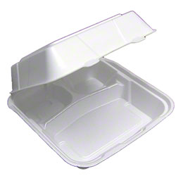 "Pactiv - White 9""x9""x3"" 3 Compartment Takeout Square Foam Hinged Container YTD19903"
