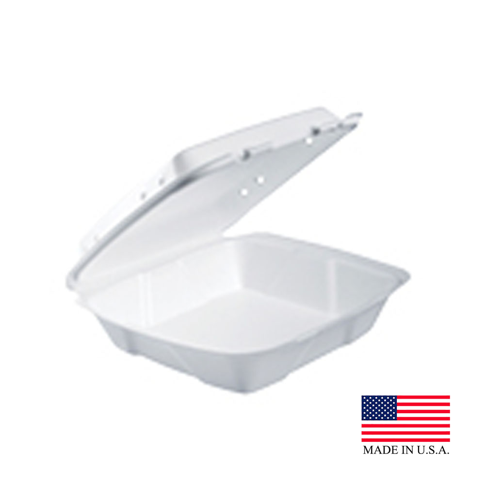 "Dart - Performer White 9""x9""x3"" Large 1 Compartment Hinged Insulated Square Foam Container with"
