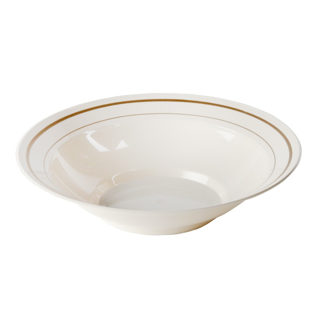 Comet Ivory 10 oz. Masterpiece Plastic Round Bowl With Gold Trim MPBWL10IPREM