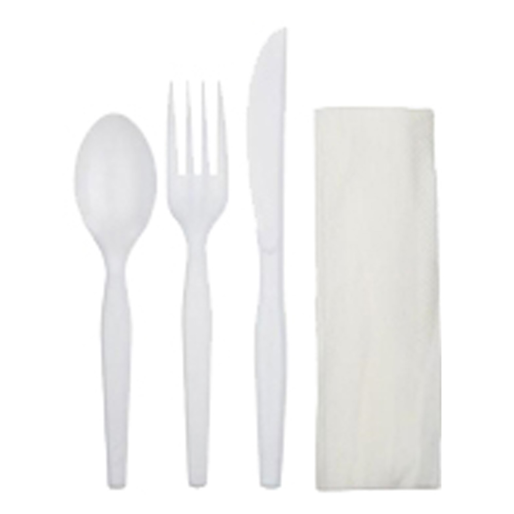 D&W Fine Pack White 3pc Cutlery Meal Kit Fork,    Knife, Teaspoon, And Napkin 3ENW