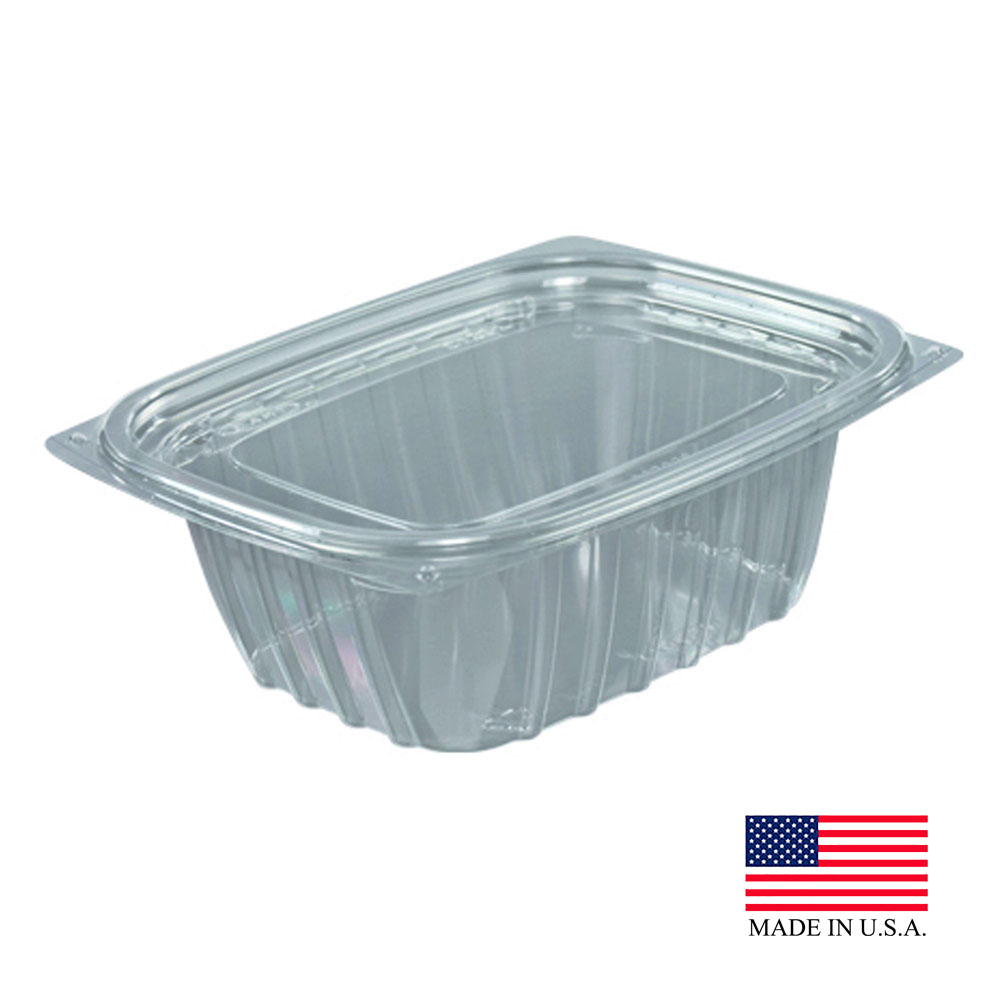 Dart - ClearPac Clear 12 oz. Rectangular Plastic Food Container With Flat Lid C12DCPR