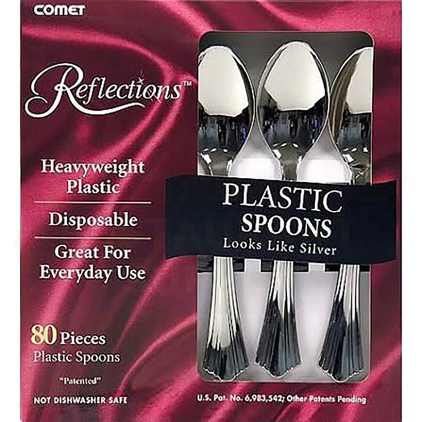 WNA/Comet - Reflections Silver 80 piece Heavy Weight Cutlery Plastic Spoon 62080
