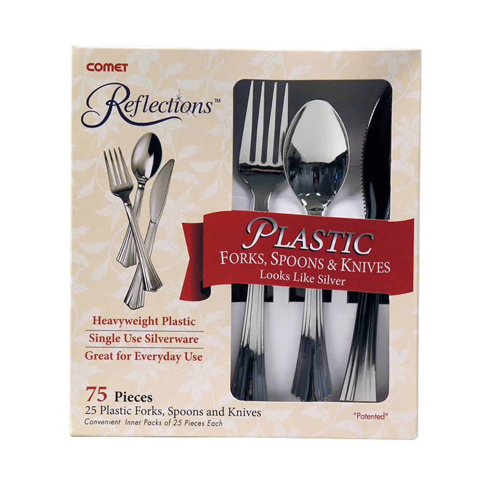 WNA/Comet - Reflections Silver 75 piece Heavy Weight Plastic Fork, Knife , and Teaspoon Cutlery