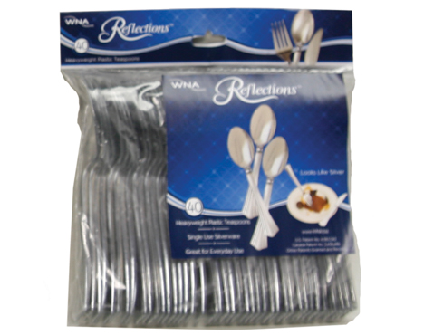 WNA/Comet - Reflections Silver 40 Count Polybagged Plastic Cutlery Teaspoon REF320SP