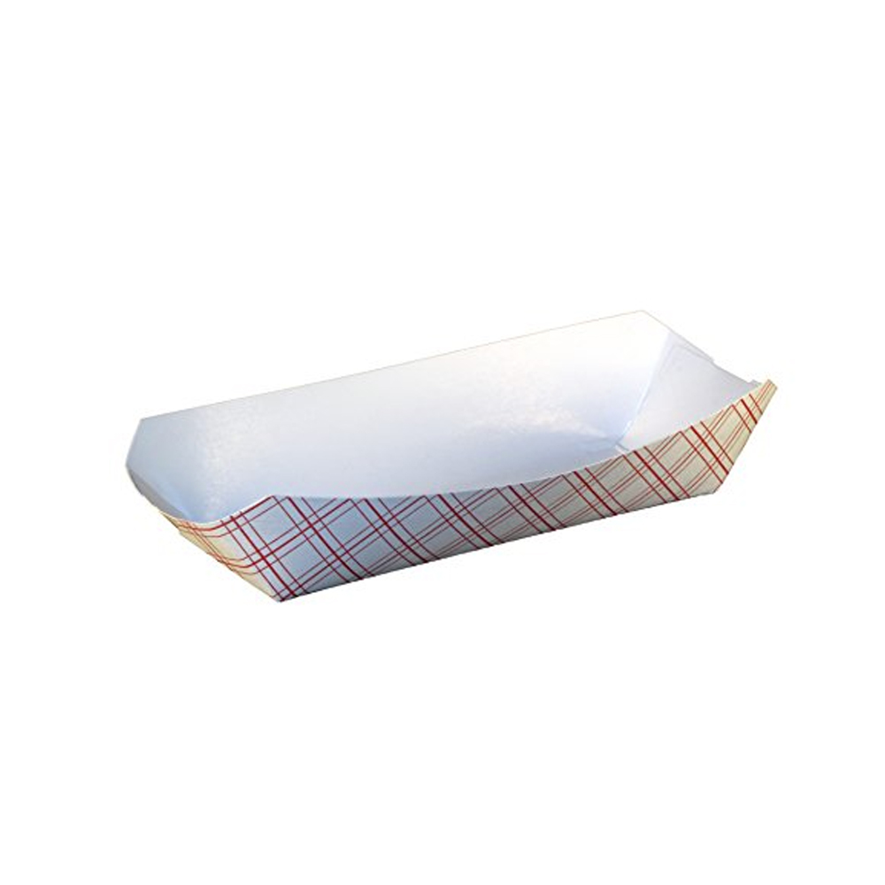 "Specialty Quality Packaging - Red Plaid 7"" Hot Dog Tray 8114"