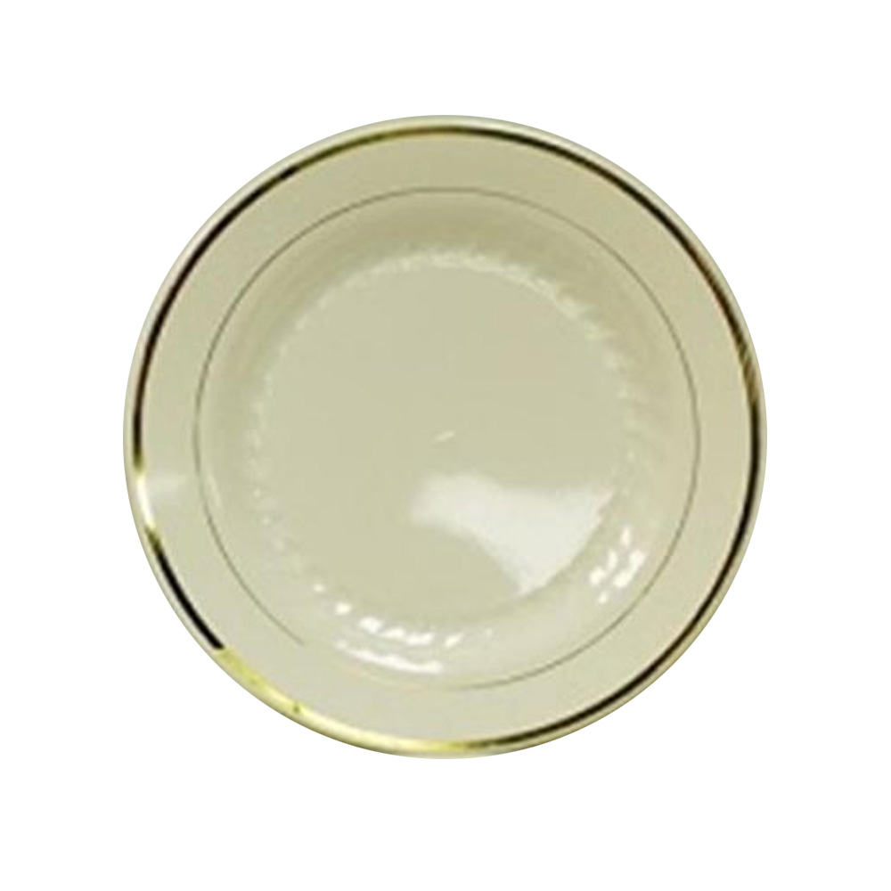 "Maryland Plastics Inc. - Regal  Ivory 7.5"" Plastic Plate Gold Trim R40075GLD"