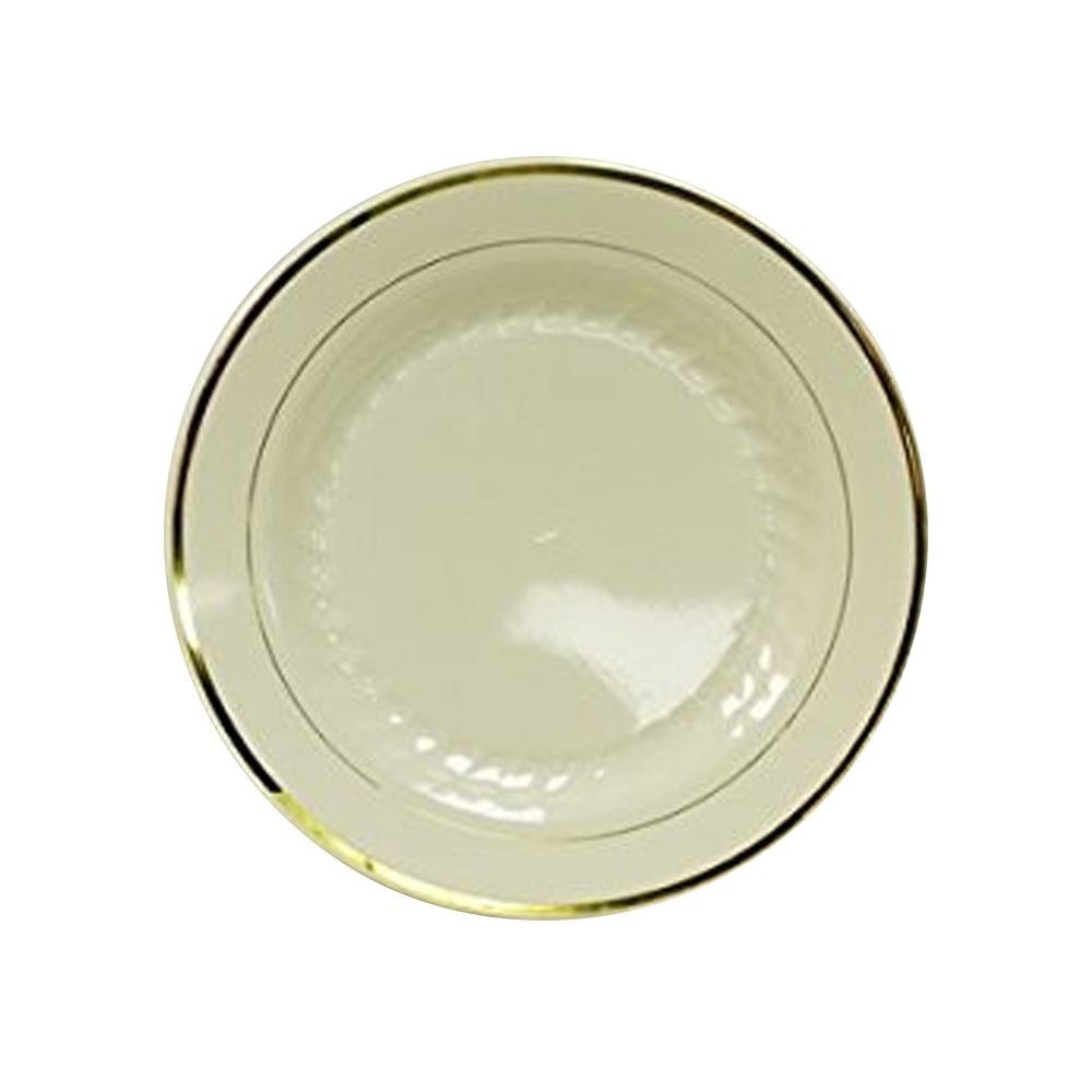 "Maryland Plastics Inc. - Regal Ivory 10.25"" Round Plastic Plate Gold Trim R40125GLD"