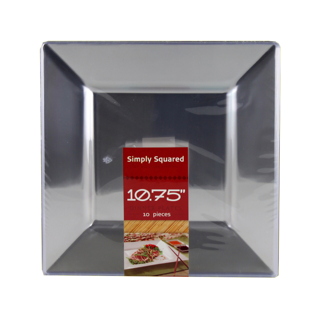 "Maryland Plastics Inc. - Simply Squared Clear 10.75"" Plastic Plate SQ10756"
