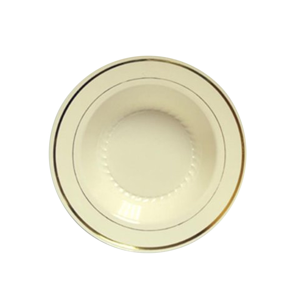 Maryland Plastics Ivory 12oz Bowl Gold Trim       R40012GLD