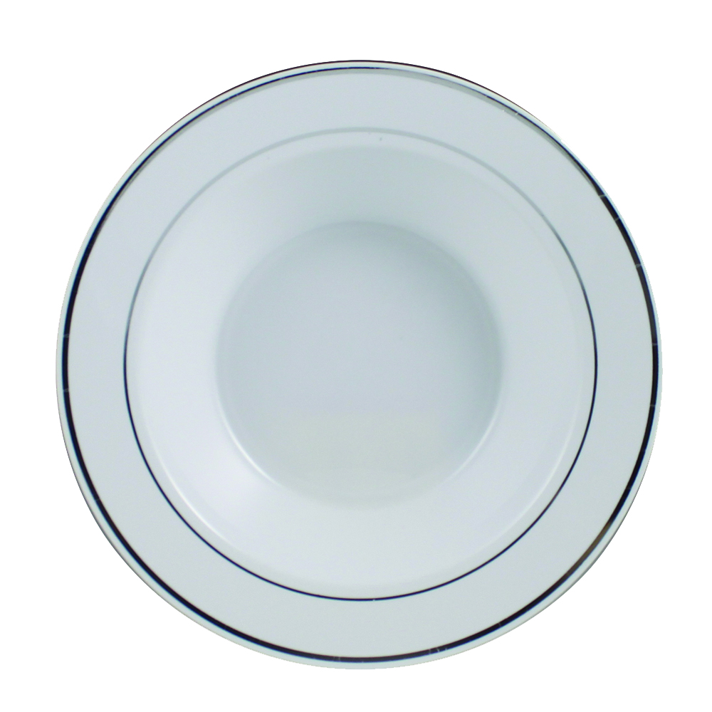 Maryland Plastics White 12oz Bowl Silver Trim     R2012SVR
