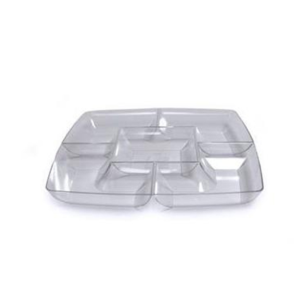 "Maryland Plastics 12"" Clear Simply Squared        Chip/Dip Tray SQ12156"