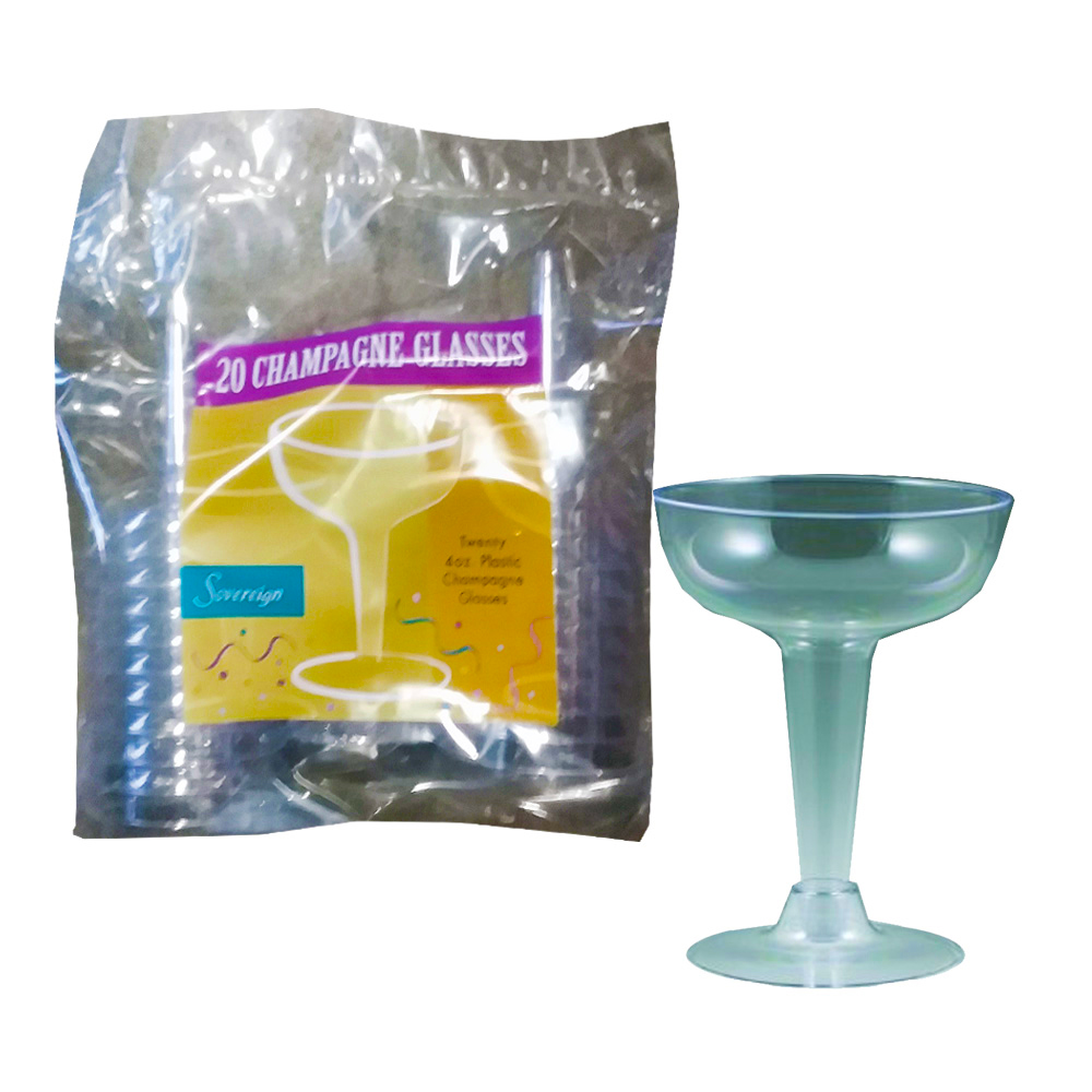 Maryland Plastics Inc. - Sovereign Clear 4 oz. 2 piece Plastic Champagne Glass MPI20200