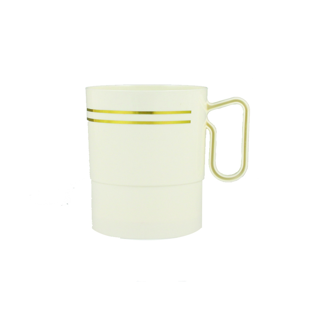 Maryland Plastics Inc. - Regal Ivory 8 oz. Plastic Mug Gold trim R40008GLD