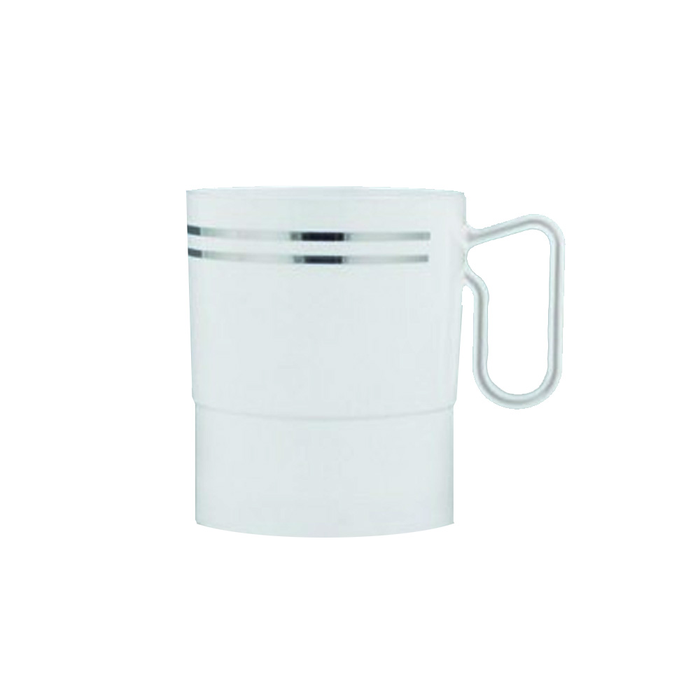 Maryland Plastics Inc. - Regal White 8 oz. Plastic Mug With Silver Trim R20008SVR