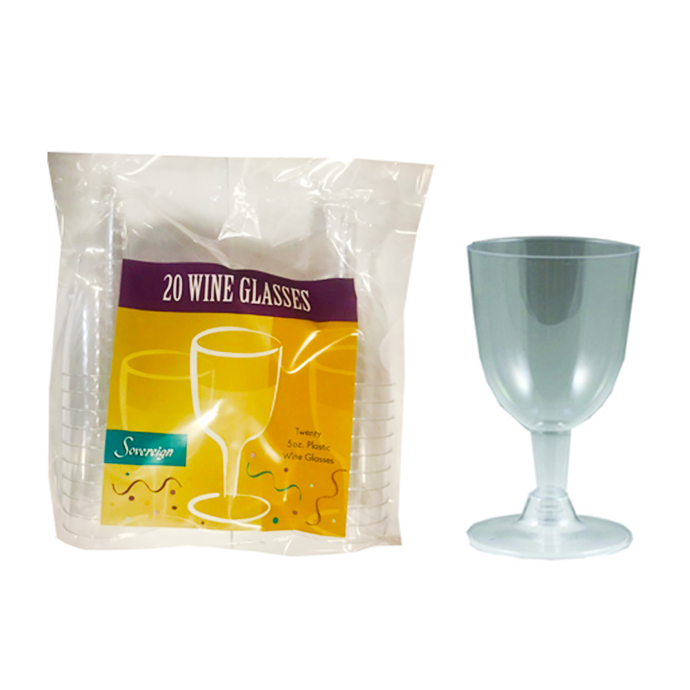 Maryland Plastics Inc. -  Sovereign Clear 5 oz. 2 piece Plastic Wine Glass MPI92200