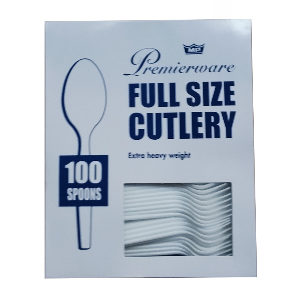 Maryland Plastics White Premierware Boxed 100     Count Spoons P21300WHT