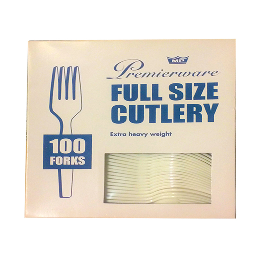 Maryland Plastics White Premierware Boxed 100     Count Forks P21400WHT