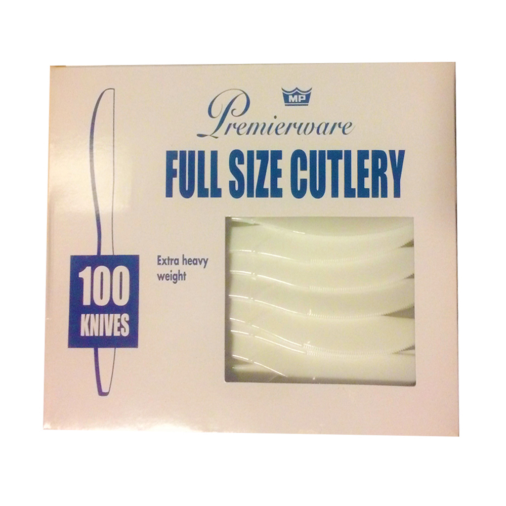 Maryland Plastics White Premierware Boxed 100     Count Heavyweight Knives P21500WHT