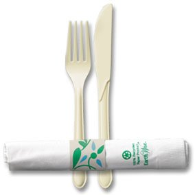 "Hoffmaster Ivory Heavy Weight Earth Wise Recycled Meal Kit Fork, Knife, 15""x17"" Napkin With Ban"
