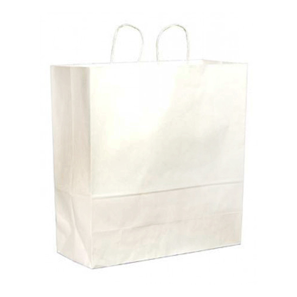 "Duro Bag Mfg. - White 18""x7""x18.75"" Paper Cargo Shopping Bag 86787"