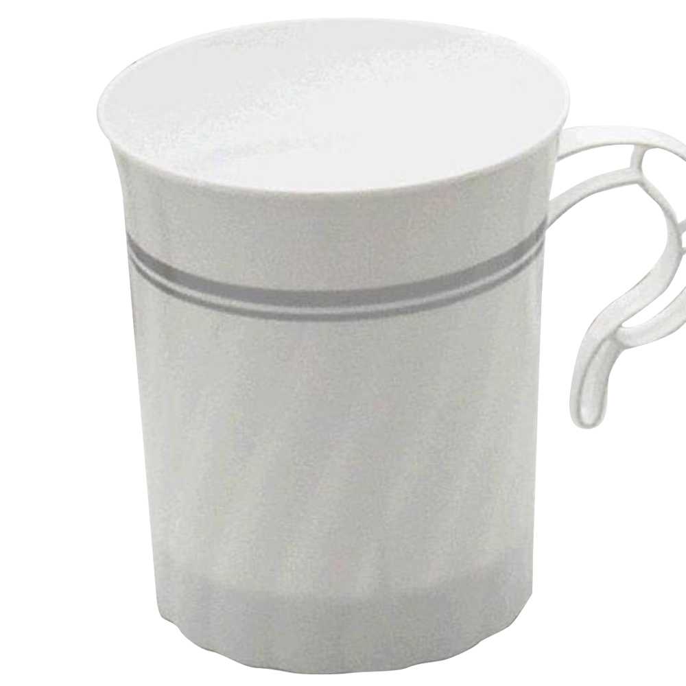 WNA/Comet - Classicware White 8 oz. Plastic Coffee Mug With Silver Trim CWM8192WSLVR