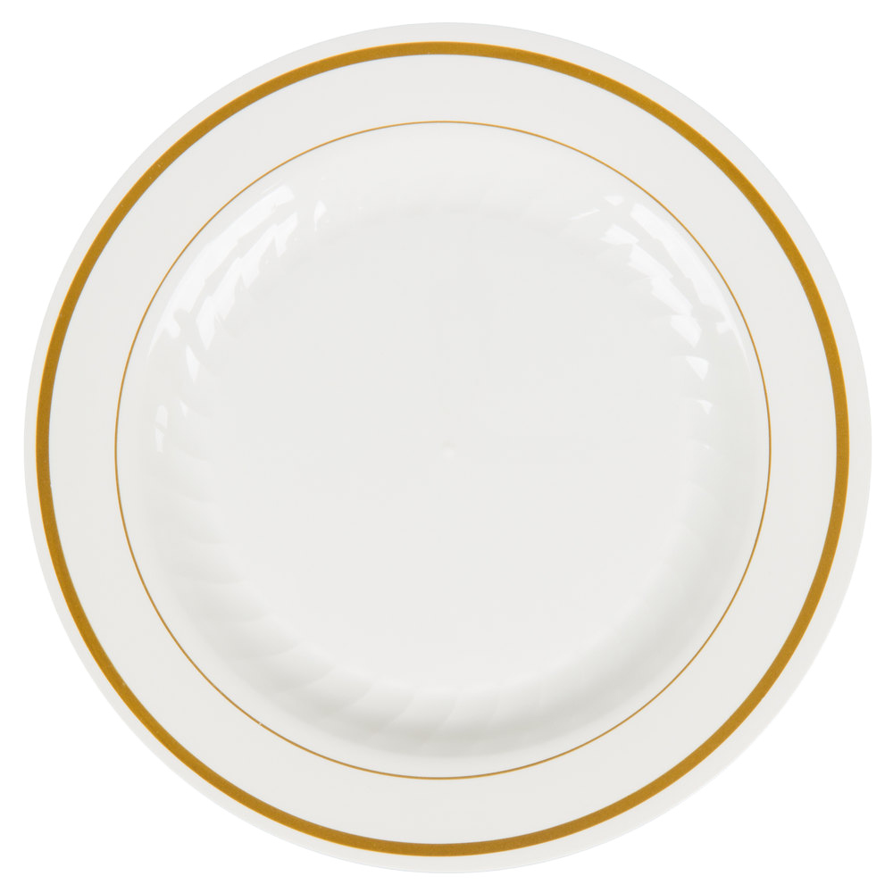 "Comet Ivory 6"" Masterpiece Plastic Plate With Gold Trim MP6IPREM"