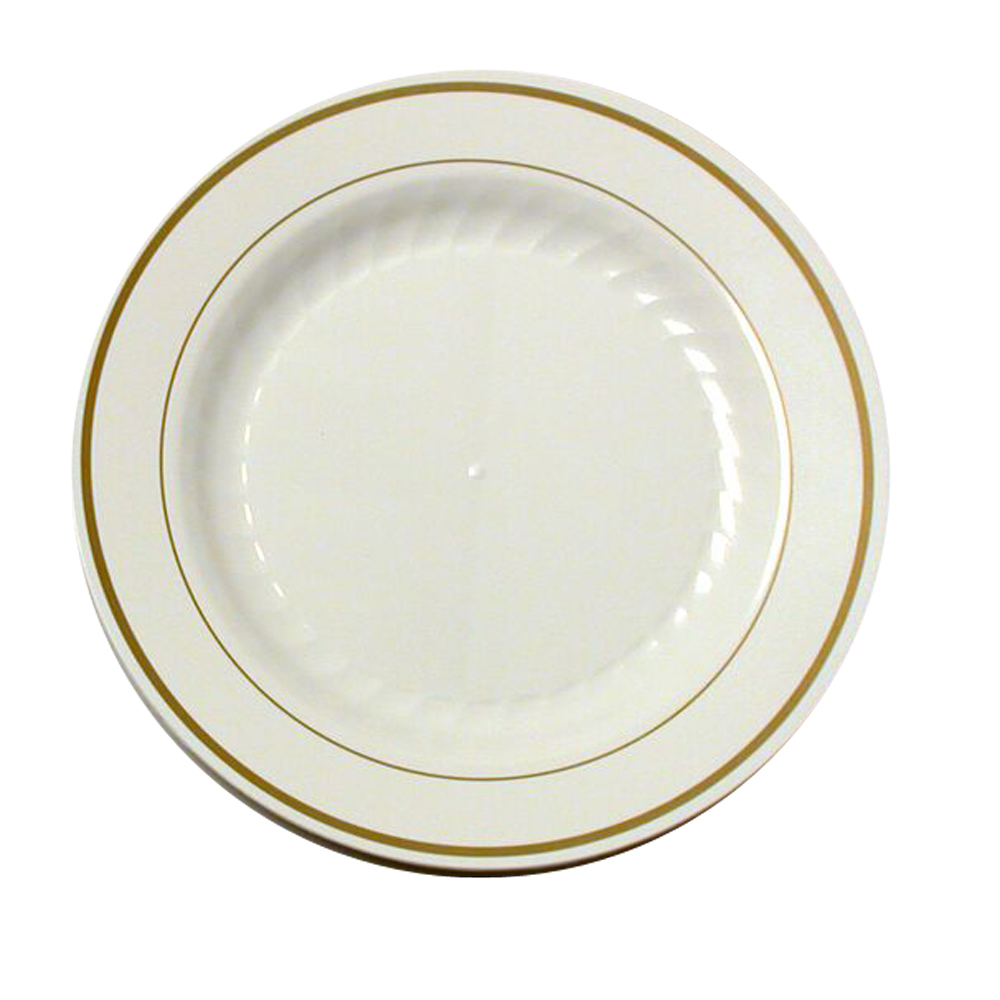 "Comet Ivory 7.5"" Masterpiece Plastic Plate With   Gold Trim MP75IPREM"