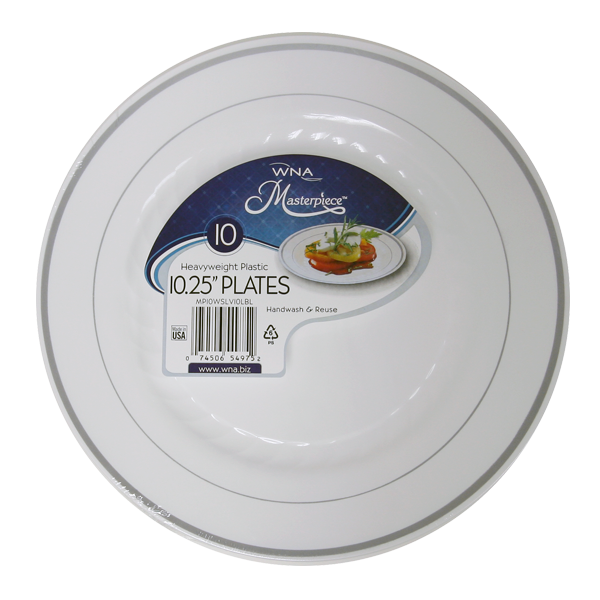"WNA/Comet - Masterpiece White 10"" Round Plastic Plate With Silver Trim RSMP101210WSLV"