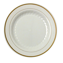 "Comet Ivory 9"" Masterpiece Round Plastic Plate    With Gold Trim MP9IPREM"