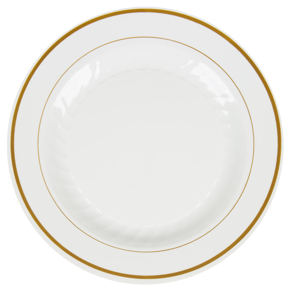 "Comet Ivory 10.25"" Masterpiece Plastic Plate With Gold Trim MP10IPREM"