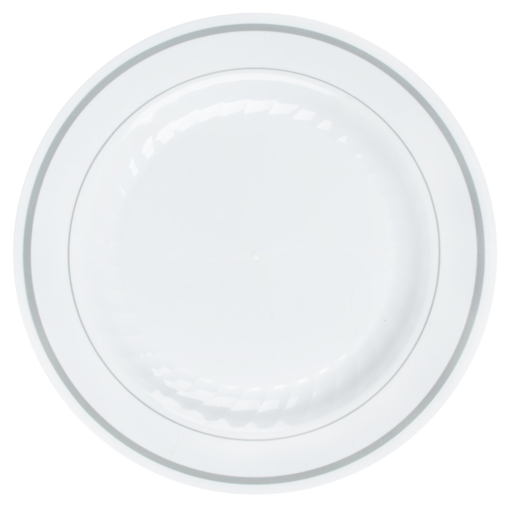 "WNA/Comet - Masterpiece White 6"" Round Plastic Plate With Silver Trim RSMP61210WSLV"