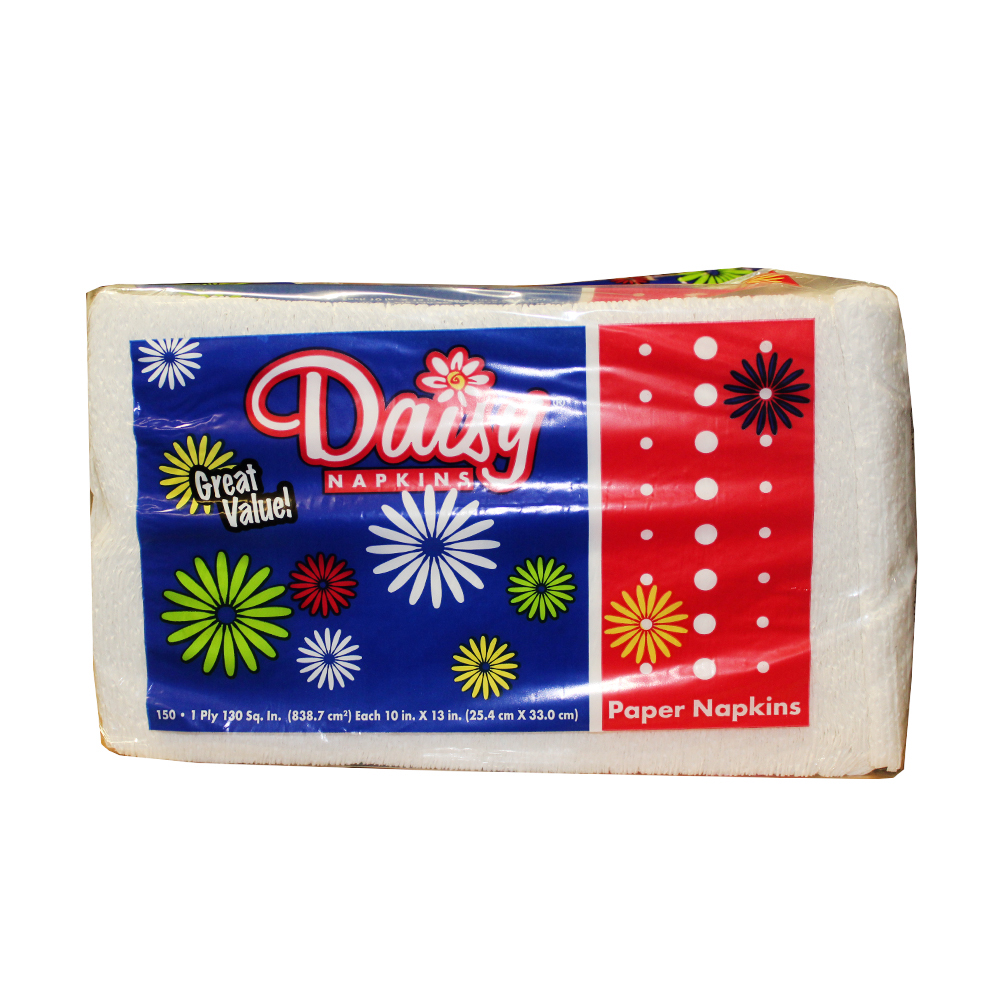 "U.S. Alliance Paper - Daisy White 10""X13"" 1 ply 150 Sheet Paper Lunch Napkin 20150"