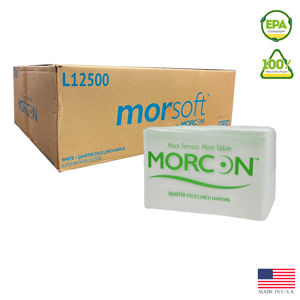 "Morcon Inc. - Morsoft White 11.8""x11.8"" 1 ply 1/4 Fold Paper Lunch Napkin L12500"