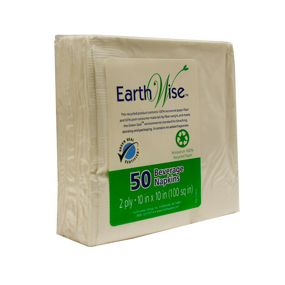 "Hoffmaster White Earth Wise 10""x10"" 2ply  BeverageNapkin 310A"