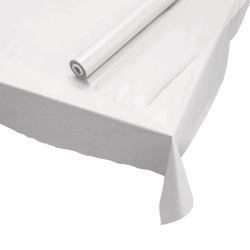 "Hoffmaster White 40""x300' Plastic Roll Table Cover 114000"