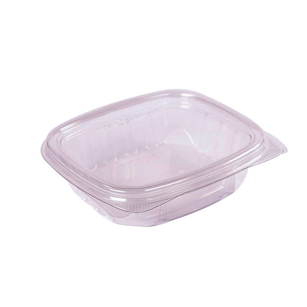 "Easypak/Douglas Stephen - Clear 8 oz. 5""x5.51""x1.48"" PET Rectangular Hinged Container WT8-F"