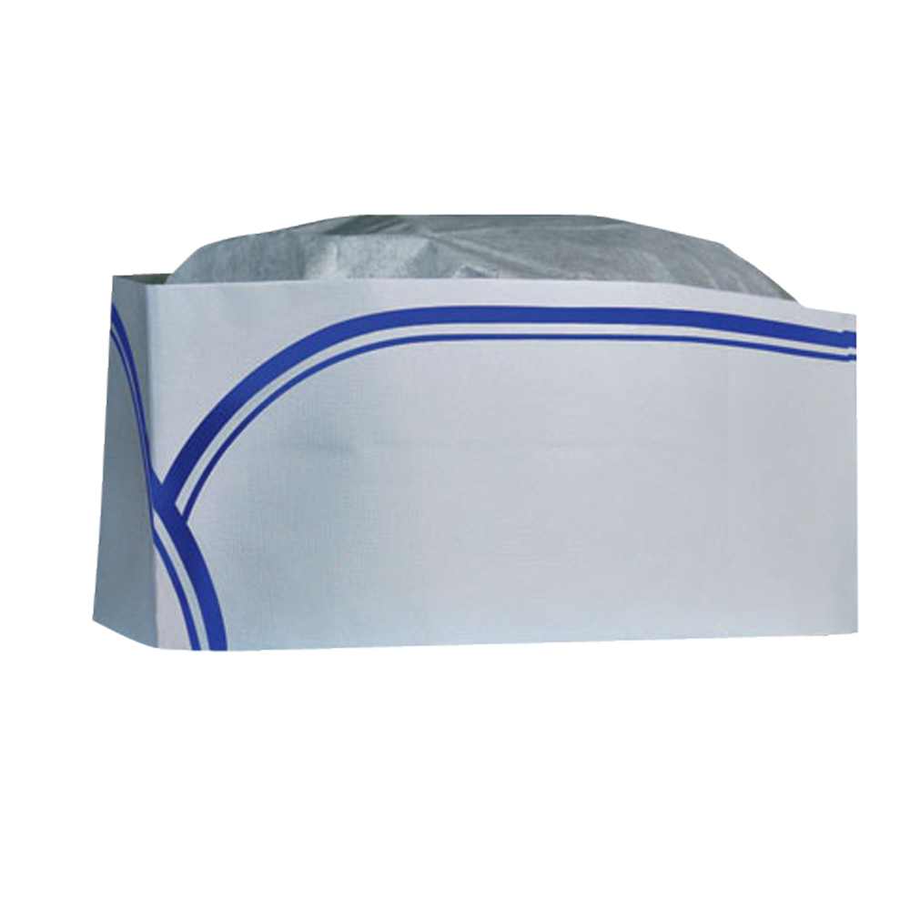 Cellucap - White & Blue Stripe Low Profile Paper Overseas Cap RC100
