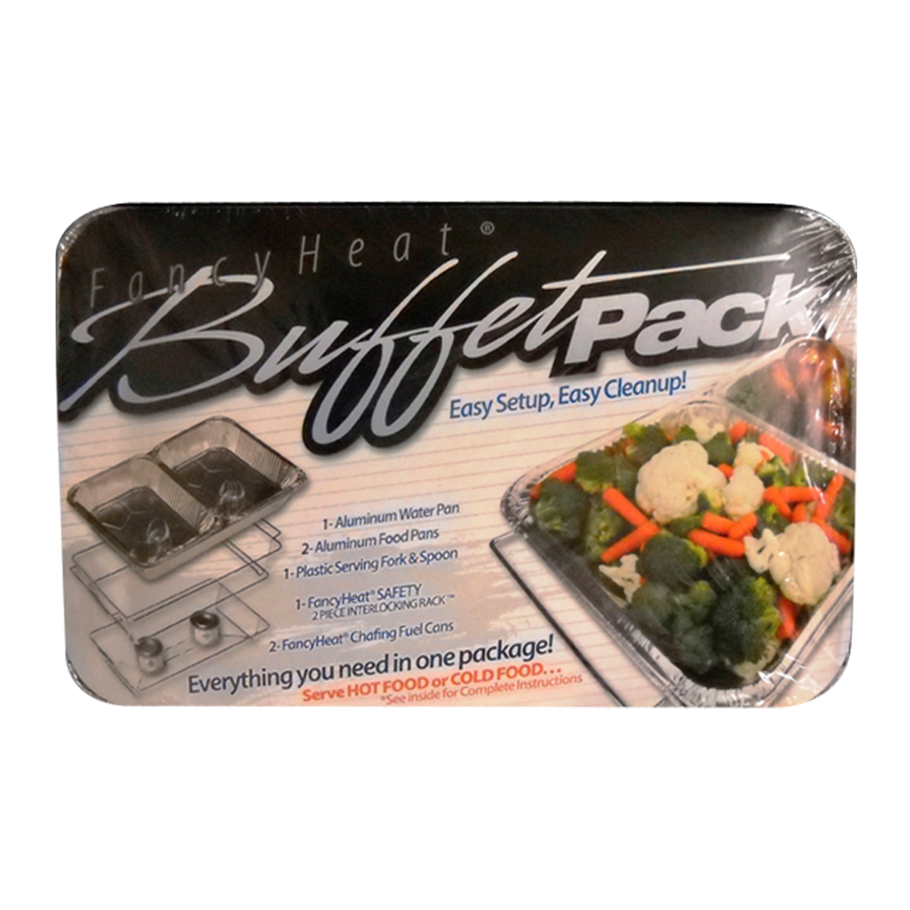 Fancy Heat/G.J Chemical - Aluminum 7 Piece Party Buffet Pack - 1 Rack, 1 Water Pan, 2 Food Pan
