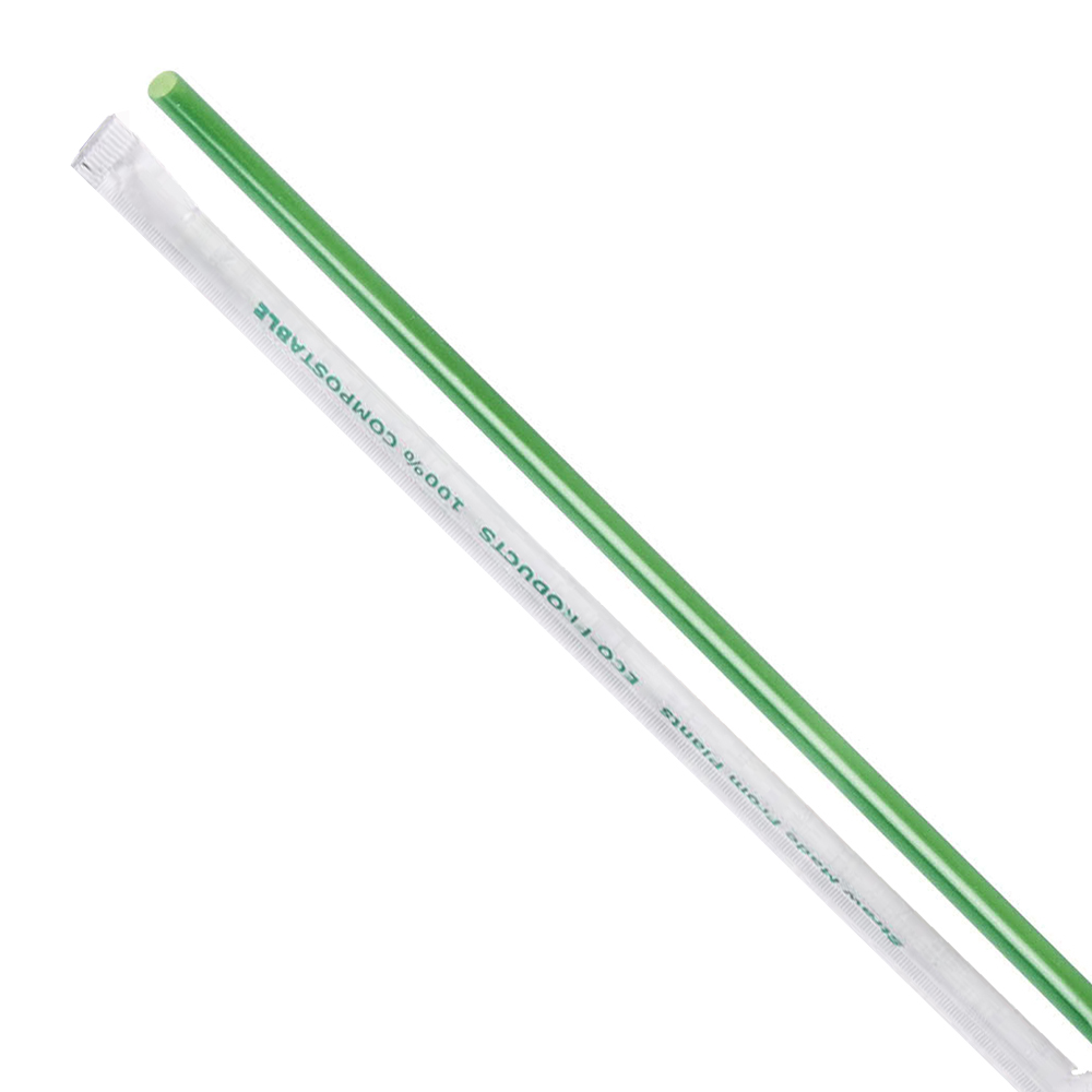 "Eco Products - Green 7.75"" Wrapped Compostable    Jumbo Straws EP-ST772"