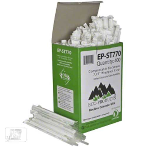"Eco Products - Clear 7.75"" Wrapped Compostable    Corn Straws EP-ST770"