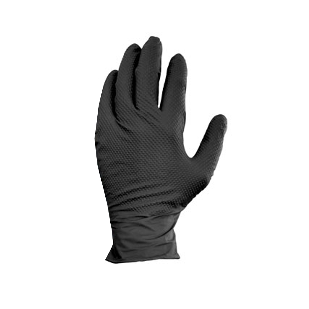 Hospeco - Black Large Textured Finger Tips Powder Free Nitrile Gloves GLN105FL